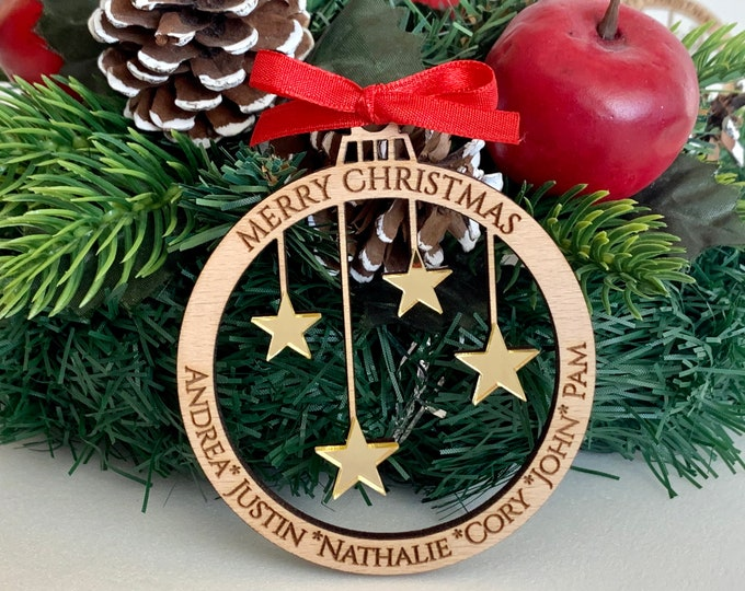 Personalized Family Christmas Tree Ornament with Custom Engraved Names Laser Cut Wood Ball & Hanging Acrylic Stars Xmas Holiday Decorations
