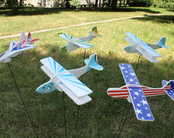 Set of 5 Airplanes Toy Handmade Foam Glider Educational Montessori Toys Plane Lover Birthday Party Decor Gift for Boys Kids Party Ideas, DIY