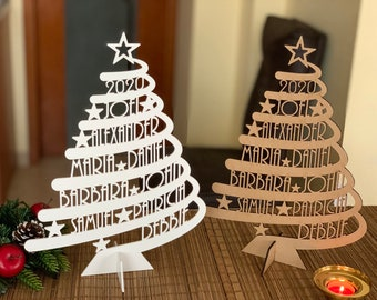 Personalized Family Names 2021 Christmas Tree Custom Xmas Gift Unique Ornament Home Decorations Laser Cut Names Handmade Freestanding Trees