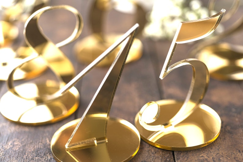 Wedding Table Number Standing Base Gold Mirror Event Table image 0