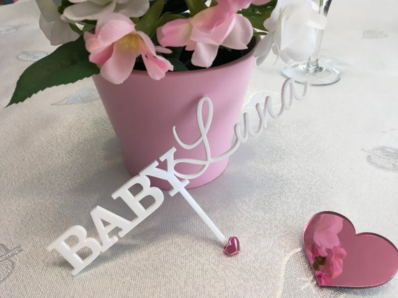 New baby decor Personalized names Cake Toppers Cake centerpiece sticks Baby shower picks Welcome baby New baby girl Baby shower Party picks
