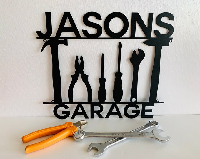 """Personalized 14"""" Metal Garage Sign Custom Name Sign Garage Location Metal Wall Art Housewarming Plaque Decor Man Cave Dads Gift for Mechanic"""