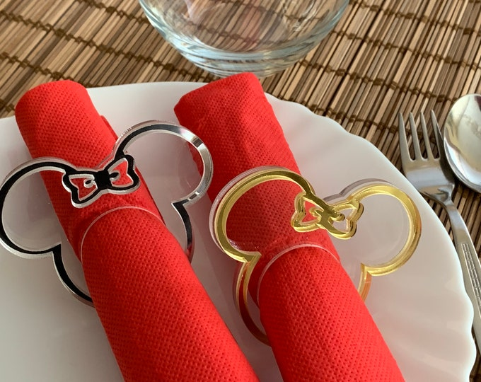 Mickey Mouse Napkin Rings Minnie Mouse Napkin Ring Holders for Kids Mickey Head Minnie Ears Mickey Theme Disney Party Birthday Decorations