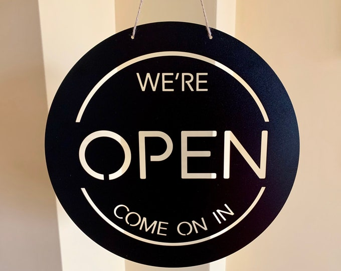 Personalized We're Open Shop Metal Sign Business Open Sign Custom Plague Reversible Sign Business Decor Hanging Slate Storefront, Store Sign
