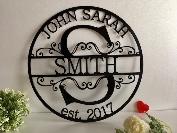 Personalized Acrylic Last Family Name Sign Initial Split Letter Wedding Gift Custom First Names Est. Year Established Sign Hanging Monogram