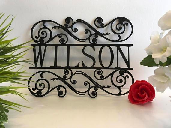 Personalized Family Last Name Sign Metal Outdoor Use Custom House Sign Monogram Garden Custom Wedding Gift Front Door Hanger Housewarming