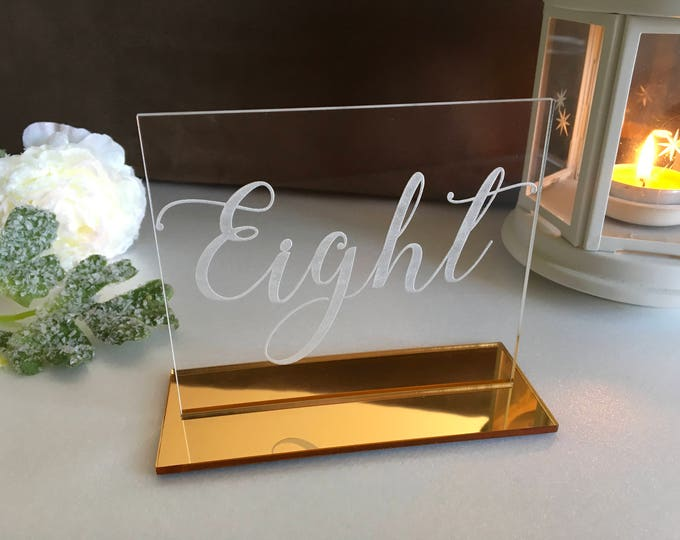 Clear Acrylic Table Numbers for Wedding Calligraphy Table Sign Modern Wedding Centerpieces Laser Cut Numbers Custom acrylic sign Event decor