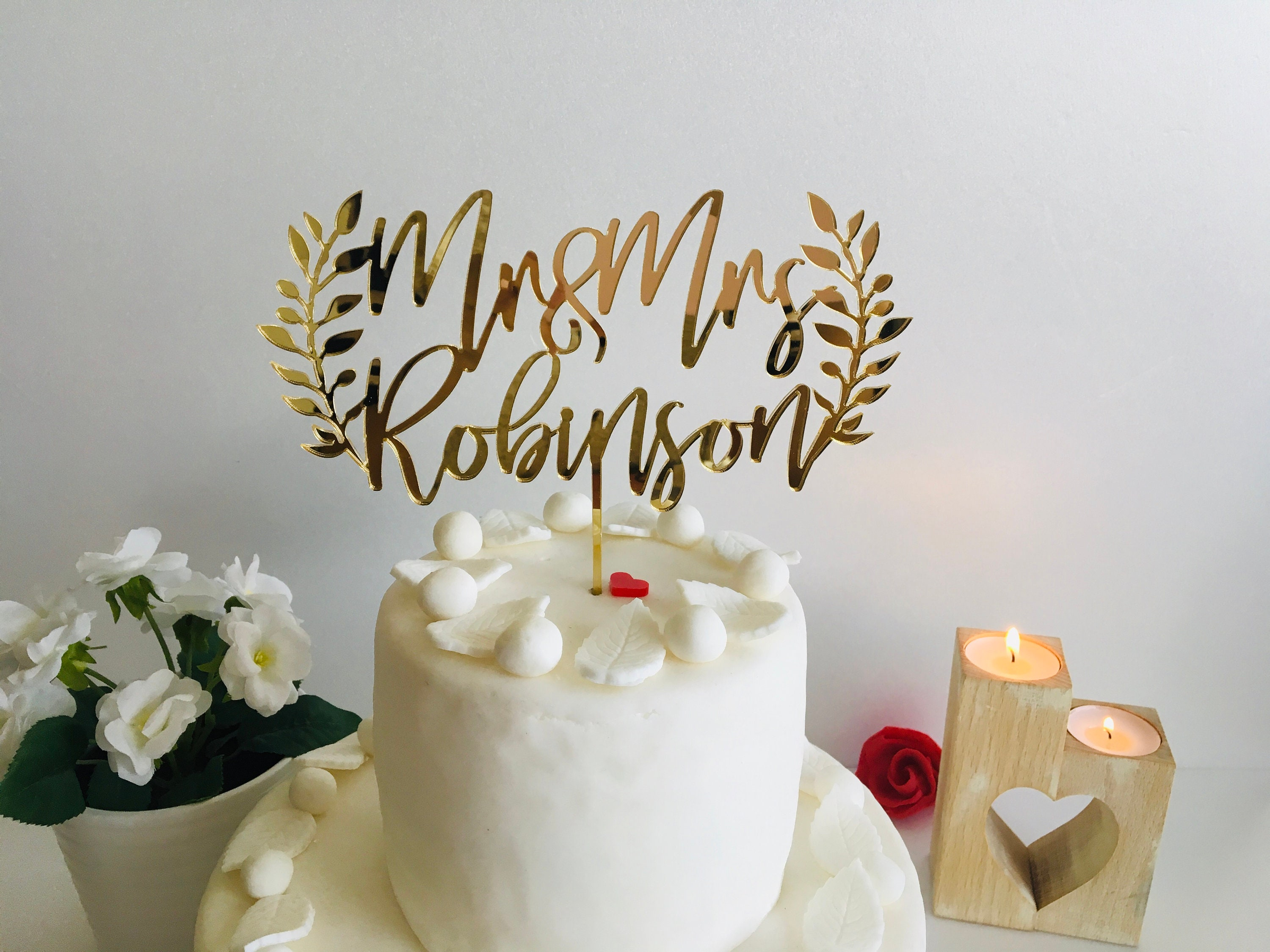Mr And Mrs Cake Topper Personalized Laurel Wreath Last
