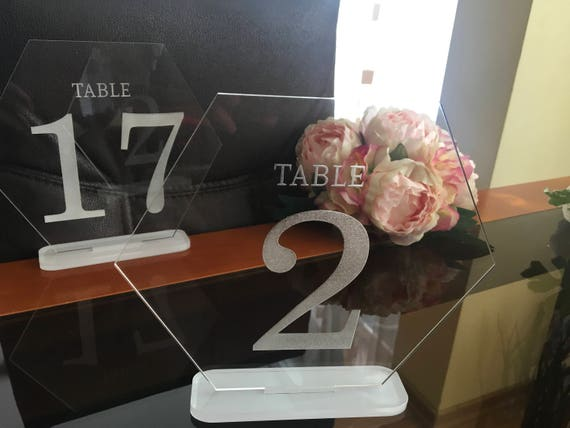 Table numbers for wedding Event numbers Bridal Table Modern Elegant Clear Engraved Acrylic Table Numbers Hexagon Number Stands Wedding signs