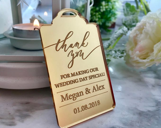 Personalized Wedding Thank You Card Luxury Bride Groom Gift Tags Engraved Names Save the Date Custom Gold Wedding Favor Bridal Shower Party