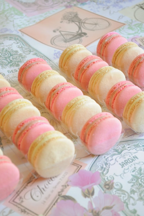 Blush Pink and off White Macarons