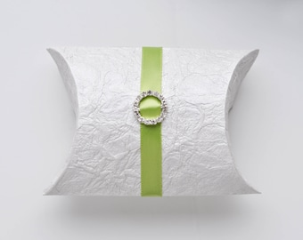 Pillow Box – Wedding Favor Box made with handmade papers with rhinestone buckles Set of 24- no ribbons