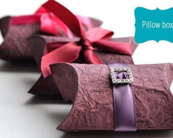 Pillow Box – Only Party Favor Box made with handmade papers - no ribbons or rhinestone buckles.