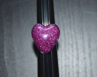 Pink glitter, heart shaped resin ring, with adjustable band