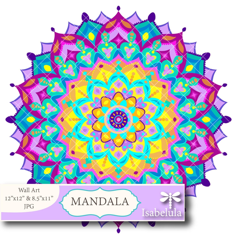 MANDALA Imprimible Colores Brillantes. Descarga Ilustración   Etsy
