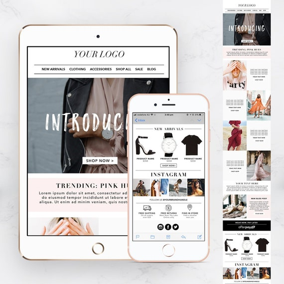 Fashion/eCommerce Email Template, edm, Newsletter, MailChimp Template PSD,  Email Design - INSTANT DOWNLOAD
