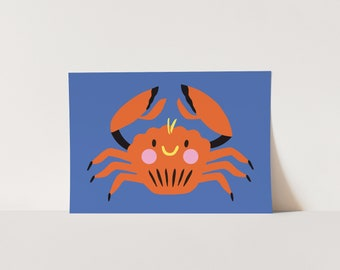 Poster Crab - A3 or A4  artprint - Perfect for any children's room!