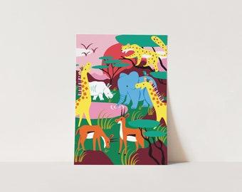 Poster Safari - Print Kids Room - 40 x 30 cm or A4 size