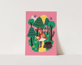 Poster Little Red Riding Hood - digital print - fairytale - wolf - kids room - children's bedroom - fairytales - cute print - pink