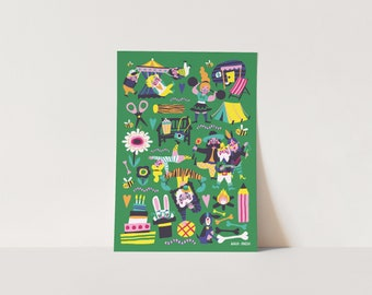 Poster - Fun Fair - Print for kidsroom - A3 or A4 size