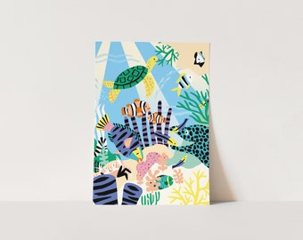 Poster Coral Reef - A3 or A4 print for kids room