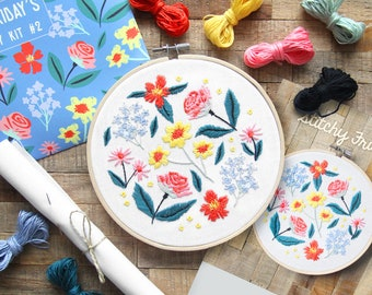 DIY Embroidery Kit #2 Flowers - Stitchy Friday's floral embroidery kit, the perfect gift for DIY lovers!