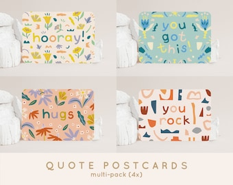 Postcardset Quotes (4x) - A6 Cards Party, Thank You, Support, Motivational, New Home, New Job, Get Well Soon and Graduation