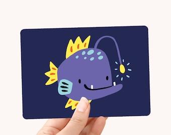 Postcard A6 Angler fish - Greeting Card for kids