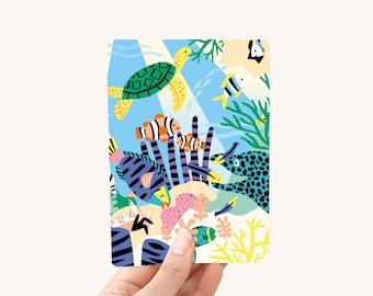 Postcard A6 coral reef - greeting card / postcard - postcards animals - animals postcards - animal postcard kids - postcard fish fishes