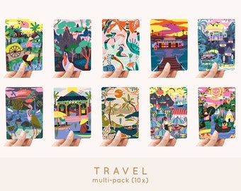 Cards A6 MULTI-PACK! 10x - Travel greeting cards / postcards