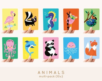 Cards A6 MULTI-PACK! 10x - Animals greeting cards / postcards