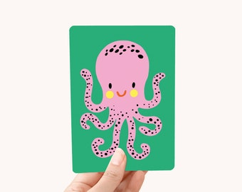 Postcard A6 Octopus - greeting card / postcard