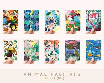 Cards A6 MULTI-PACK! 10x - Animal Habitats greeting cards / postcards