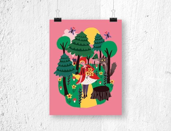 Poster roodkapje print kinderkamer sprookjes etsy