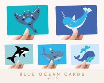 Multi-Pack Blue Ocean! 5x Postcards A6 Under the Sea Animals: killer whale, whale, narwhal, shark and stingray - Greeting card / postcard