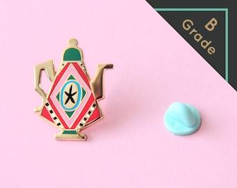 B GRADE Teapot pin - Hard enamel pin (green edition)