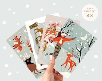 Christmas Card Set of 4 - Winter Animals A6 - Holiday Greetings Cards