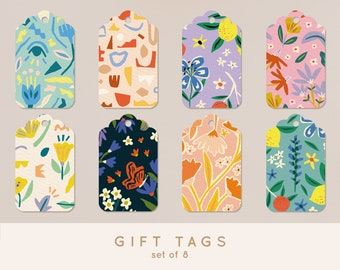 Gift Tags - Set of 8 - Labels for presents with happy patterns - Perfect for fun gift wrapping!