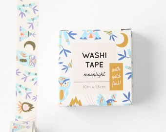 Washi Tape - Moonlight - With goldfoil print - 10m x 1.5cm