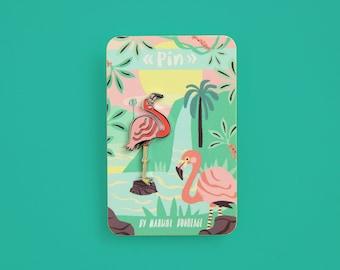 Enamel pin 'Flamingo' - Hard enamel pin mounted on a tropical illustrated backing card!