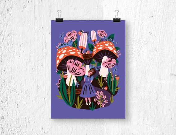 Poster alice in wonderland print sprookjes poster etsy