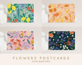 Postcardset Flowers (4x) - A6 Cards Get Well Soon, Party, Thank You, Support, Motivational, New Home, New Job and Graduation