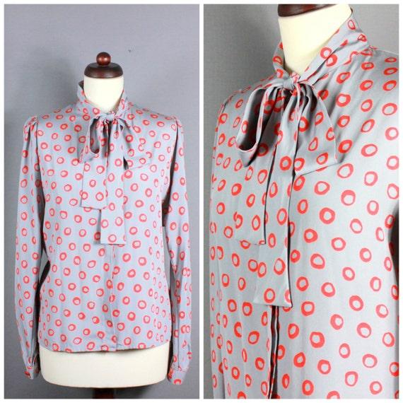 Vintage 70s Silk Blouse Long Sleeve Secretary Pus… - image 1