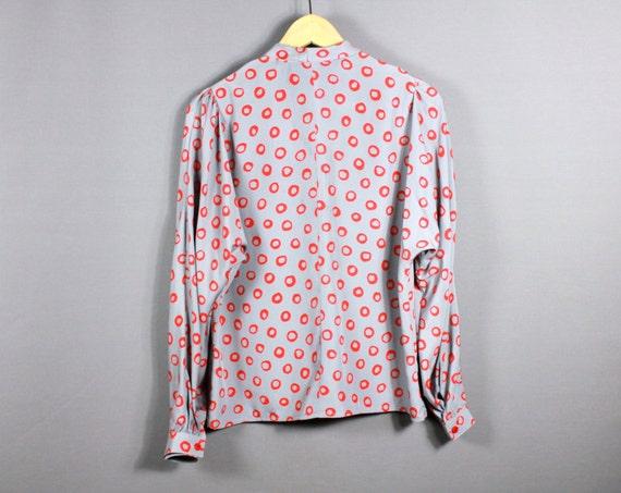 Vintage 70s Silk Blouse Long Sleeve Secretary Pus… - image 3