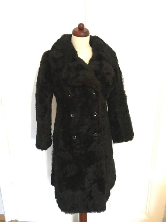 Vintage Princess Cut Lamb Fur Coat Black
