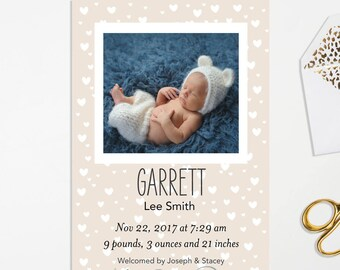 Heartfelt Birth Announcements, Boy or Girl Birth Announcements