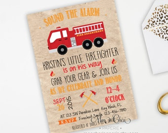 Little Firefighter Baby Shower Invitation, Fire Truck Baby Shower Invitation, Vintage Fire Truck Invitation, Baby Firefighter