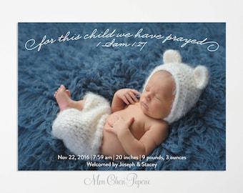 For This Child We Prayed Birth Announcement,  1 Samuel  1:27, Birth Announcement Printable DIY