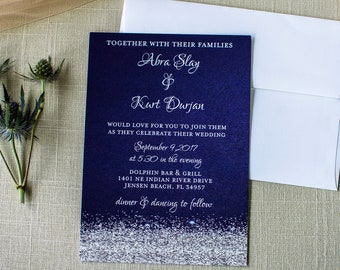 Navy And Silver Glitter Wedding Suite