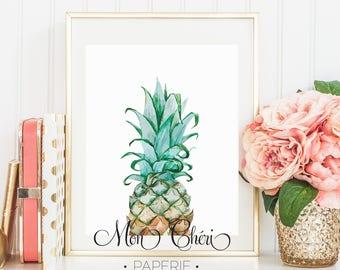 Pineapple Watercolor Wall Art | Printable Wall Art |  Home Decor | Wall Print| Wall Art Watercolor | Wall Art | Pineapple Print